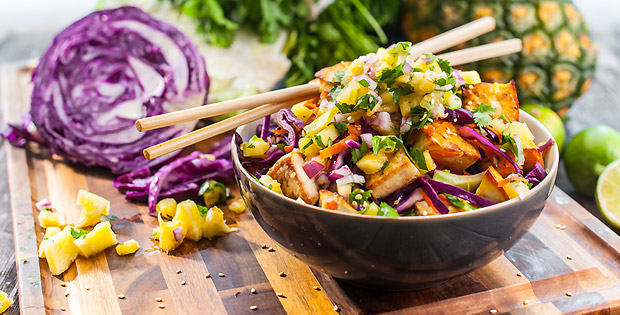Baked Tofu Stir-fry with Fresh Pineapple Relish